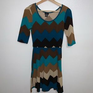 Fall Colors Chevron Dress